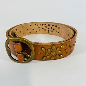 Brown Leather Gold Studded Size M